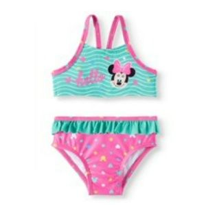NWT Disney Baby girls Minnie Mouse 2pc Swimsuit.